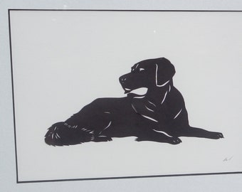 Black Laborador Retriever Paper Cut Silhouette!