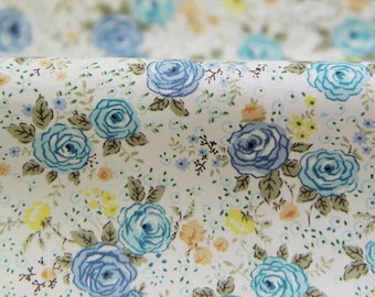 Little Roses Pattern Cotton Fabric by Yard (Blue) AE32