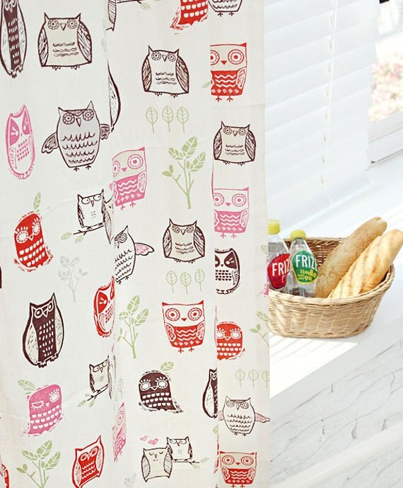 Owl Pattern 20s Cotton Fabric (Natural Color) from