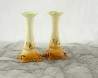 Antique Rosenthal China Moliere Candlestick Holders - Bavaria