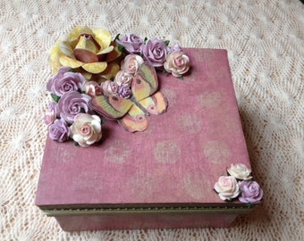 Hand Decorated Gift Box-Pink Polka Dot-5 in.