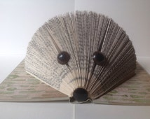 Hedgehog Folded Book Art, Folded Pages, Book Art, Recycled Book, Upcycled Book, Book Origami, Repurposed Book, Library, Read, Book Lover