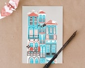Postcard of Porto's buildings - cute illustration of houses in Portugal. Great for souvenirs and postcrossing. In red, blue, black and grey
