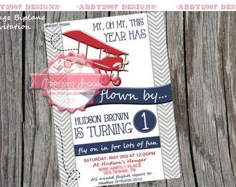 Vintage Biplane Party Card DIGITAL FILE we personalize