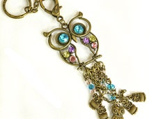 Owl Bag Charm - Antique Bronze Key Ring - Purse Charm - Bag Clip - Baby Owls - Crystals - Pink Turquoise Lemon Lilac - Statement Piece