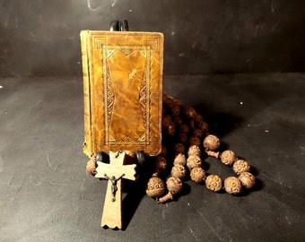 Antique French Leather cover missal book. Missal of the Adoration .Catholic missal.