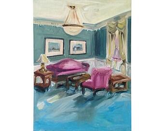 Midcentury Oil Painting, Living Room