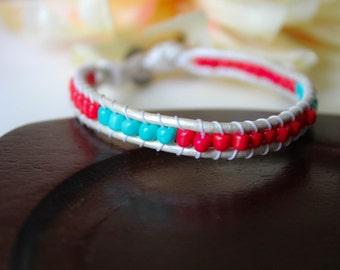 Red & Turquoise Beaded Leather Single Wrap Bracelet