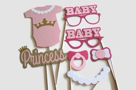 princess baby shower photo booth props set of 12 photo booth props