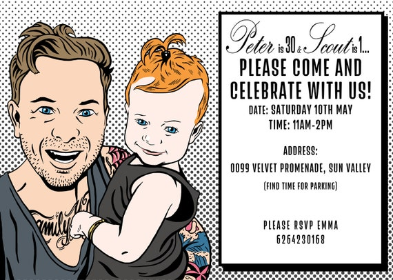 Printable Invitation With The POP ART Style Portrait Roy