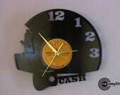 Johnny Cash, Cash, Cash art, Wall clock, vinyl record clock, Johnny Cash art, vinyl record clock, vinyl clock. mancave decor