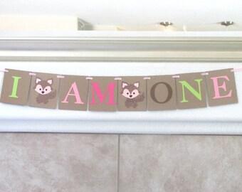 Girl Woodlands First Birthday Banner Woodlands I Am One Banner Forest Animals First Birthday Banner Girl Fox Birthday Banner First Enchanted
