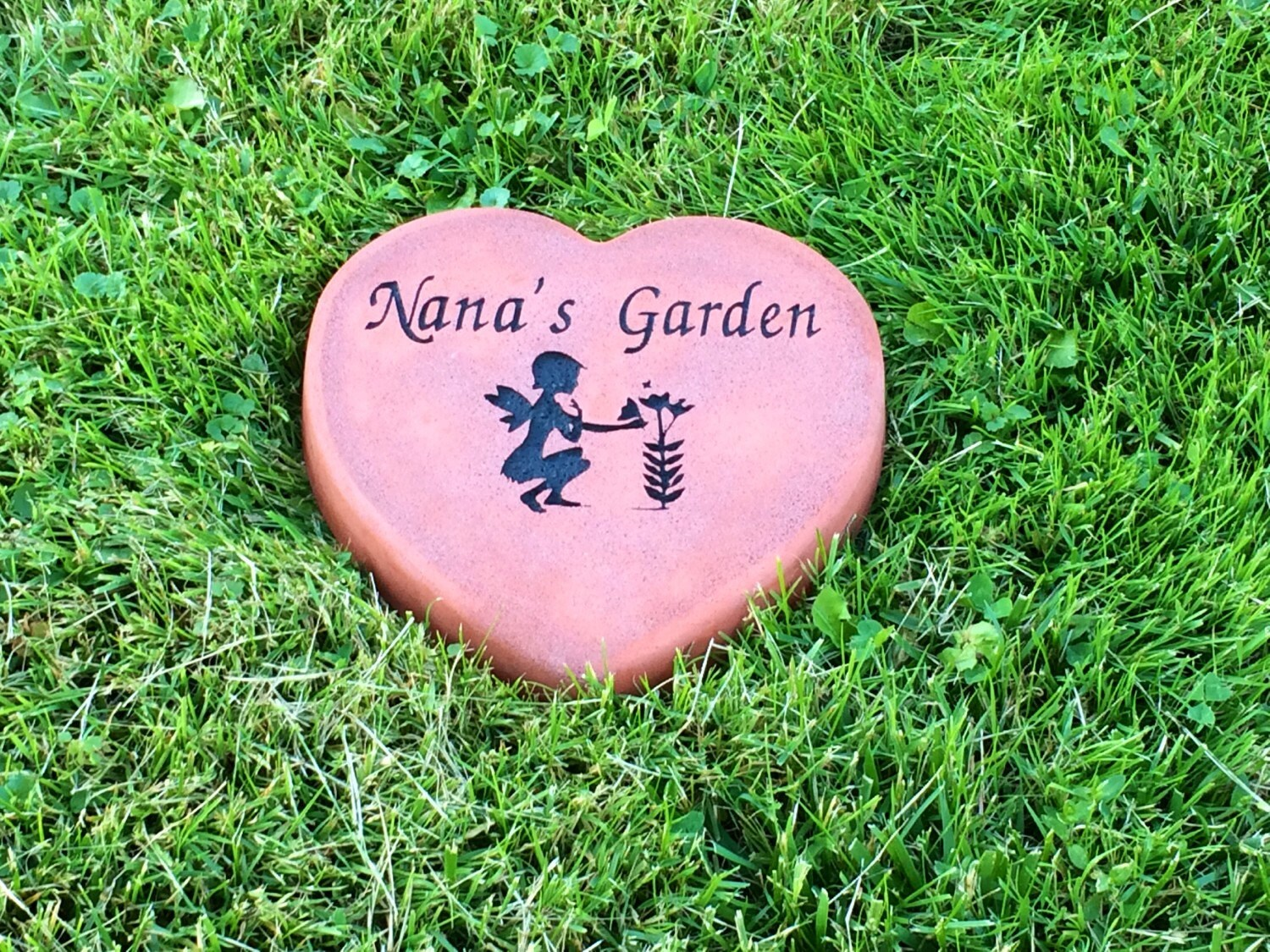 personalized heart shaped garden stone customized names and