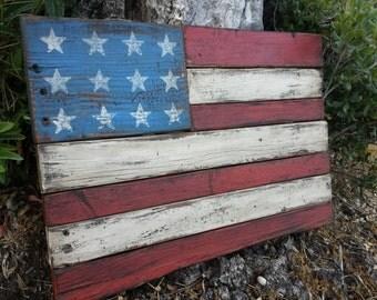 Distressed wood American flag art
