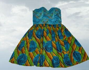 Yazzy African Print dress/Ankara Dress/ Lace dress/ Party dress/ Prom dress/Gala dress/cocktail dress/ African Dutch wax print/Kitenge dress
