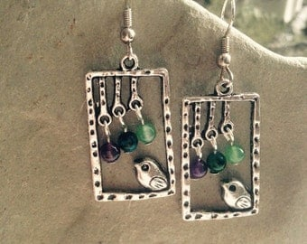 BLESSED BIRDS-  Silver Bird with Amethyst, Australian Jasper and Green Aventurine rounds, handmade, nature, whimsical, 2'' dangle, 26.00US