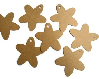 50 High Quality Flower-Shaped Kraft Tags. Great as Wedding Tags, Favor Tags, Hang Tags, Price, Luggage or Parcel Tags