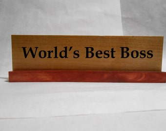 "Wood Office/Cubicle Desk Nameplate Sign - 10"" - World's Best Boss with Red Milk Paint - Hickory/Pine"
