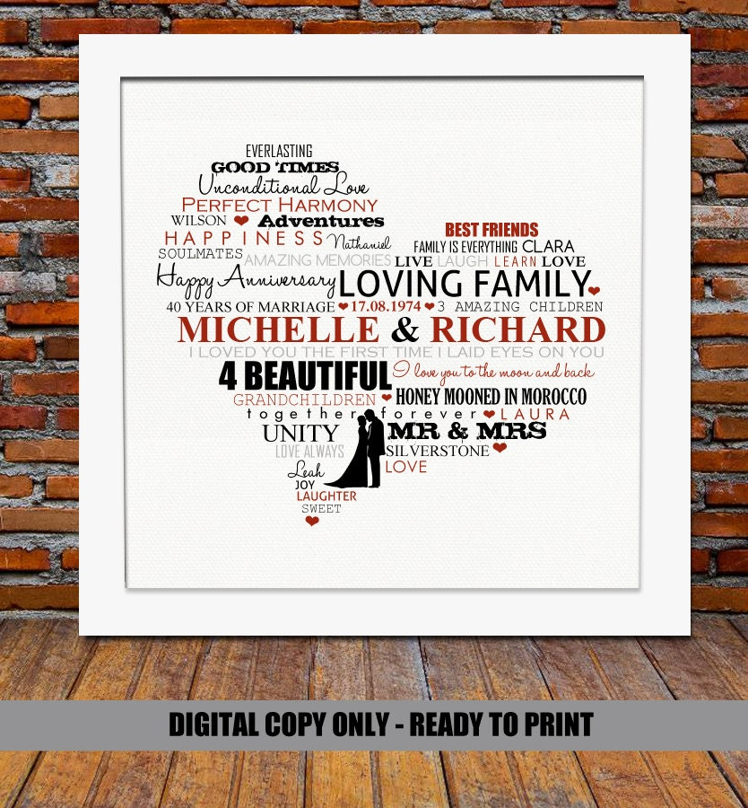 40th Wedding Anniversary Gifts For Parents Ideas : Personalized Anniversary gift Ruby wedding by BlingPrints on Etsy