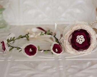 Flower Garland and Flower wand set, Flower girl, junior bridesmaid, vintage wedding fabric flowers