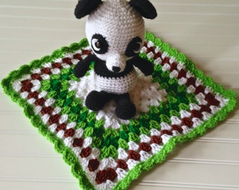 Panda Blanket Buddy, Crocheted, Unique Baby Shower Gift, Ready to ship