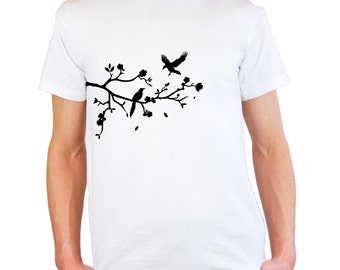 Mens & Womens T-Shirt with Tree Branch with Falling Leafs, Birds and Flowers Design / Forest Shirts / Nature Shirt + Free Random Decal Gift
