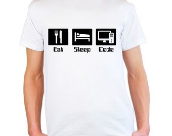 Mens & Womens T-Shirt with Quote Eat Sleep Code Design / Programmer Inspirational Shirts / Motivational Developer Shirt + Free Random Decal