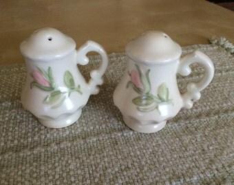 Vintage Porcelain Pink Rose Salt And Pepper Shakers