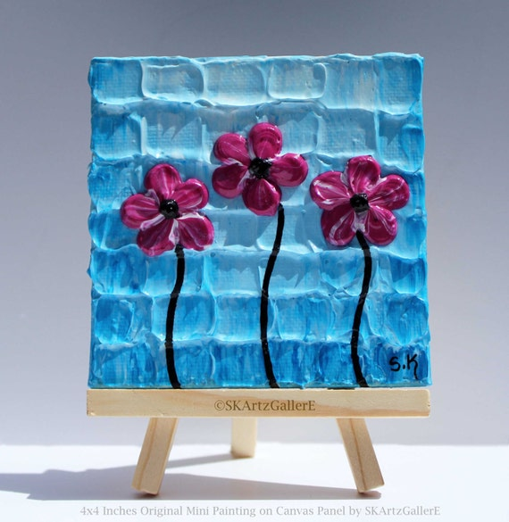 mini canvas painting original miniature art mini floral