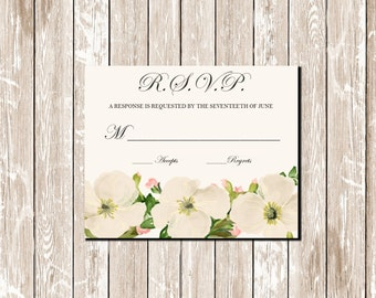 Printable Floral Wedding Invitation White Poppy RSVP Card