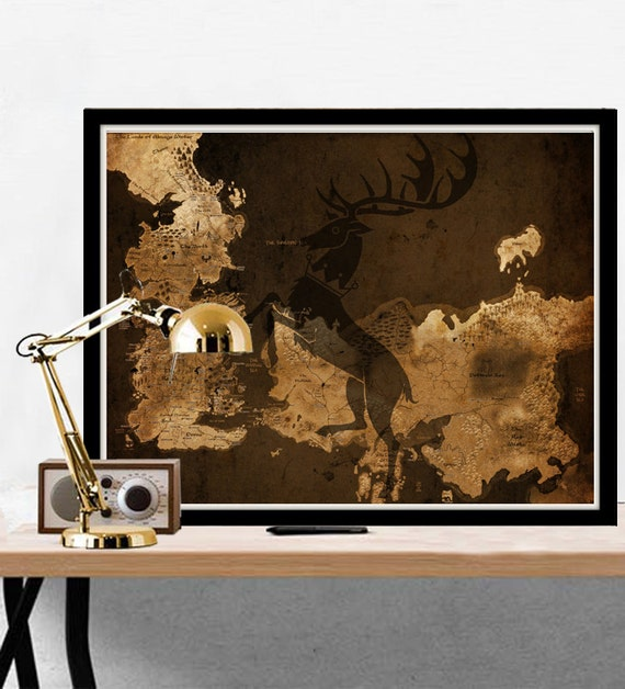 Game of Thrones Map Westeros Vintage Map Style by LACOTEDESIGN