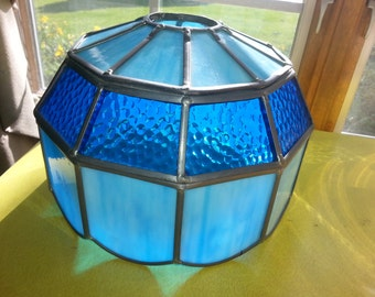 Vintage 1960s Slag Stained Glass Vibrant Blue Lamp Shade!