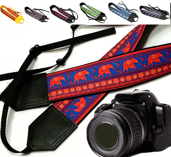 Lucky Elephant camera strap. Ethnic camera strap. DSLR / SLR Padded Camera Strap. Camera strap for Nikon, Canon, Sony, Fuji & other cameras.