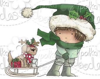 Christmas Dog Sleigh Digital Stamp - by Nikky Hall