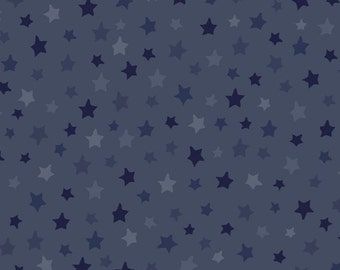Homefront Girl, Be Strong, Be Brave Military Cotton Fabric Blue Tonal Stars by Quilting Treasures