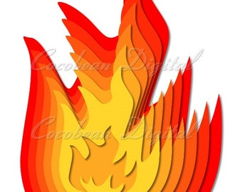 Flames 3D Layered Nested -svg,dxf digital cutting file-instant download