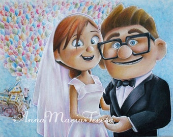 Carl and Ellie wedding art print.