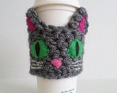 Sweet Green Eyed Cat Coffee Sleeve - Crocheted, Reusable, Personalized, Custom, Iced or Hot Drinks, Ecofriendly
