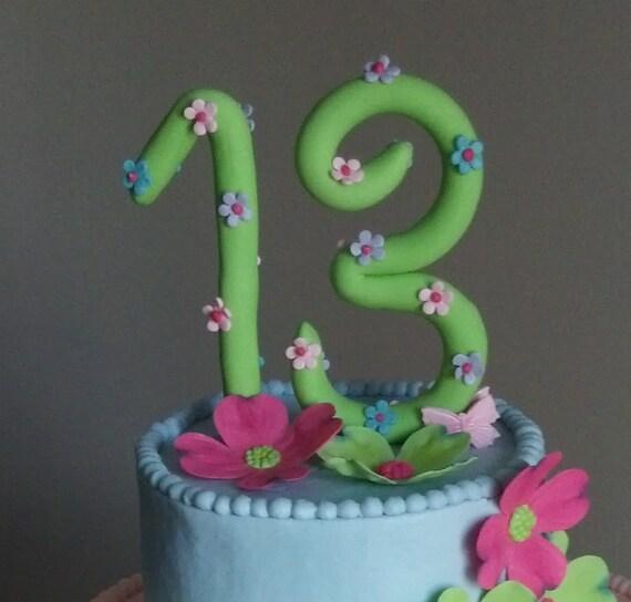 Handmade Fondant Number Cake Topper Birthday Cake Decorations
