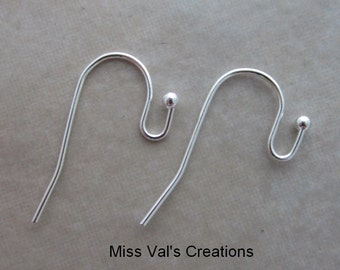100 silver plated plain hook ear wires with ball