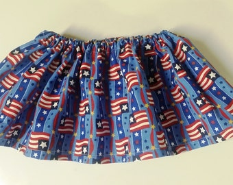Girls Patriotic 4th of July Skirt, 6-12 month size (elastic waist band)