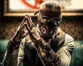Steampunk Bracer - Steampunk Watch - Steam Punk Cuff - Leather Bracer - Post Apocalyp - Leather Armor - Steampunk Accessory - Larp