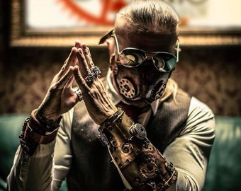 Steampunk Bracer - Steampunk Watch - Steam Punk Cuff - Leather Bracer - Post Apocalyptic - Leather Armor - Steampunk Accessory - Larp