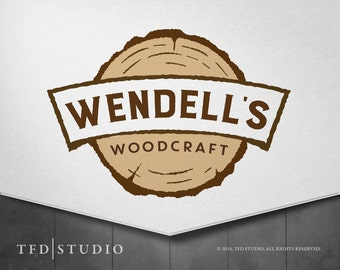 Professionally designed woodcraft woodworking logo