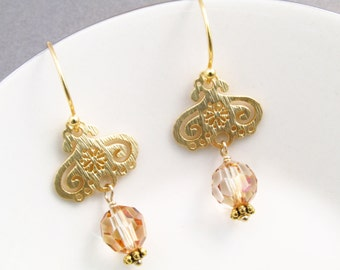 Gold chandelier earrings, light topaz crystals, 1-1/2 inches, vermeil ear wires, gold earrings, vermeil earrings, crystal earrings
