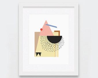 Modern Digital Print, Bold Modern Abstract Wall Art, Scandinavian Digital Art, Geometric Decor, Periwinkle Yellow Peach Red Art, Cheap Art