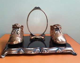 Vintage Art Deco Bronze Baby Shoes and Picture Frame