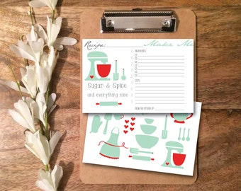 INSTANT DOWNLOAD / PDF: Recipe Card- from the kitchen of...bridal shower, kitchen themed party