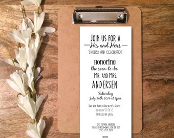 Personalized His and Hers Wedding Shower Invitation- Digital PDF