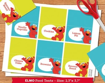Personalized Elmo  food label tent (digital file)